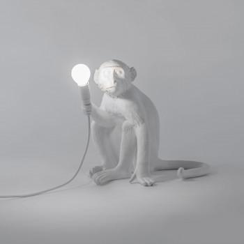 "Seletti Lampada da tavolo in resina ""Monkey Lamp"" seduta   Lumen 350 4000k Luce Naturale  14882"