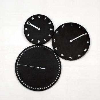 """Progetti Orologio da parete con ore minuti e secondi separati """"H:M:S:""""  Nero"""