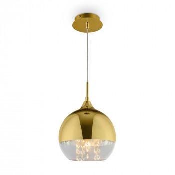 Maytoni Lampada a sospensione grande dal design elegante con boccia in vetro dorata Fermi Oro    P140-PL-170-1-G