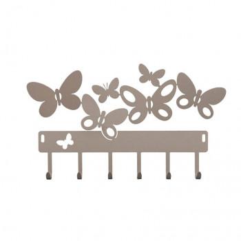 Arti e Mestieri Portachiavi da parete in metallo Butterfly