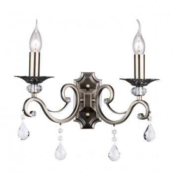 Maytoni Applique classica in metallo a 2 braccia con cristalli e lampadine a fiamma Grace Ottone