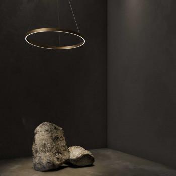 Maytoni Sospensione a LED con un diffusore grande a cerchio regolabile in alluminio Rim  Lumen 3000 3000k Luce Calda  MOD058PL-L42