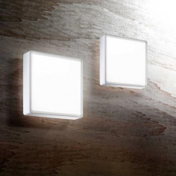 Fabas Luce Plafoniera piccola a LED per esterno struttura in policarbonato in stile moderno Oban Bianco Lumen 1400 3000k Luce Calda  3205-61-102