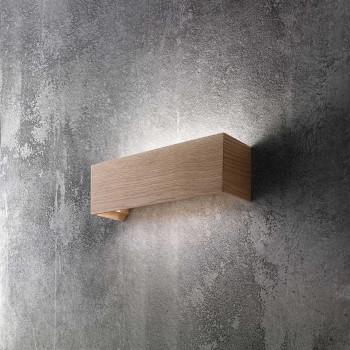 Fabas Luce Applique da parete a LED con struttura in metallo e legno design moderno Badia Legno Lumen 1440 3000k Luce Calda  3383-21-215