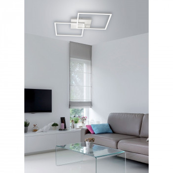 Fabas Luce Plafoniera grande dal design moderno con 2 luci a LED con struttura in metallo Bard  Lumen 4680 3000k Luce Calda  3394-65