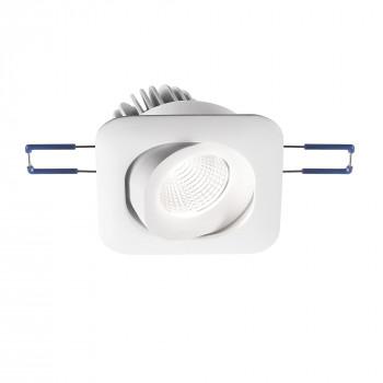 Fabas Luce Faretto da incasso quadrato orientabile struttura in alluminio e lampada LED Alice Bianco Lumen 800 3000k Luce Calda  3445-72-345