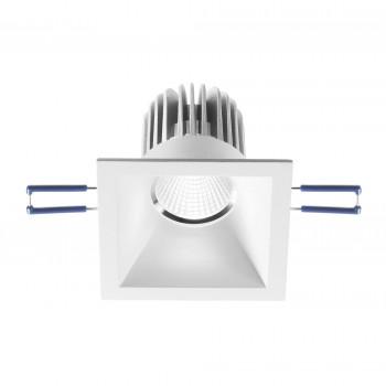 Fabas Luce Faretto da incasso quadrato con struttura in alluminio e lampadina a LED Alice Bianco Lumen 800 3000k Luce Calda  3445-72-347