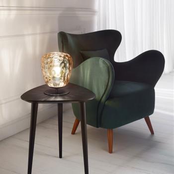 Fabas Luce Abatjour moderna con struttura in metallo e paralume in vetro soffiato Gisella Ambra    3518-30-125