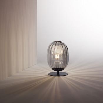 Fabas Luce Abat jour da comodino con struttura in metallo e diffusore in vetro soffiato Infinity Grigio Fumè    3519-30-126