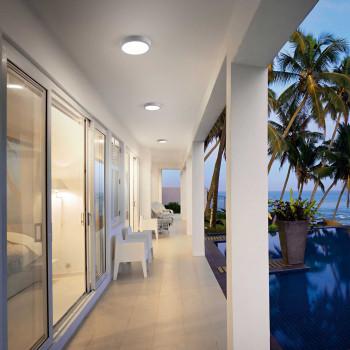 Fabas Luce Lampada a soffitto a LED per esterno con struttura in metallo e design moderno Axel Grigio Lumen 1300 3000k Luce Calda  3524-65-131