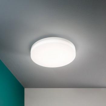 Fabas Luce Plafoniera per esterno a LED a soffitto con sensore di movimento in metallo Trigo Bianco Lumen 2150 3000k Luce Calda  3525-63-102