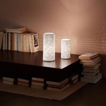 Fabas Luce Abatjour da comodino moderna con struttura in metallo e diffusore in ceramica Micol Bianco    3528-30-102