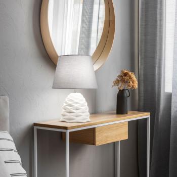 Fabas Luce Lampada da tavolo moderna con struttura in ceramica e paralume in tessuto Duchessa Bianco    3533-30-102