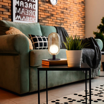 Fabas Luce Lampada da tavolo con struttura in metallo e diffusore in vetro design moderno Gubbio     3553-31