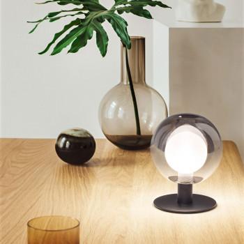Fabas Luce Lampada da tavolo struttura in metallo e paralume in vetro dal design moderno Teramo     3554-31