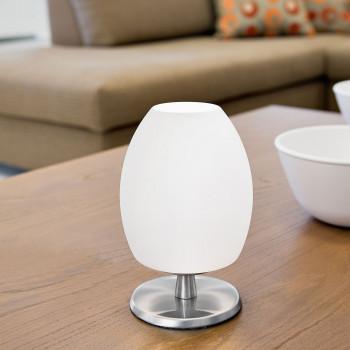 Fabas Luce Lampada da tavolo in metallo con diffusore in vetro in stile moderno Rockford Nichel    3571-30-102
