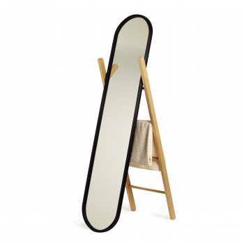 Umbra Specchio da terra moderno con cavalletto in legno Hub  Nero