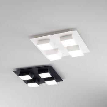 Fabas Luce Plafoniera moderna da soffitto con 4 luci a LED con struttura in metallo Lucas  Lumen 3500 4000k Luce Naturale  3601-84