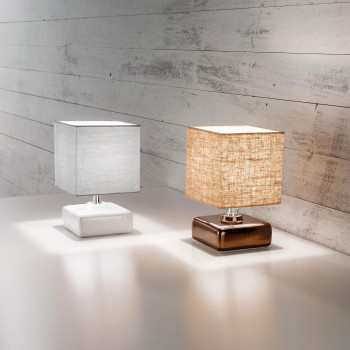 Fabas Luce Abat-jour moderna con struttura in metallo e ceramica diffusore in tessuto Taro     3611-30