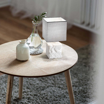 Fabas Luce Abat-jour moderna con struttura in metallo e ceramica e diffusore in tessuto Adda Bianco    3612-30-102