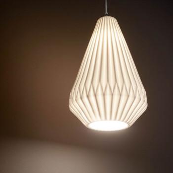 Fabas Luce Illuminazione a sospensione piccola moderna in metallo e paralume in ceramica Vigor Bianco    3613-40-102