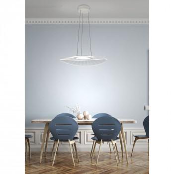 Fabas Luce Lampada a sospensione piccola a LED con struttura in metallo dal design moderno Vela Bianco Lumen 2160 3000k Luce Calda  3625-40-102