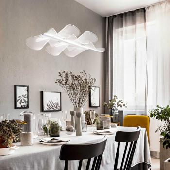Fabas Luce Lampada a sospensione grande a LED struttura in metallo e diffusore in acrilico Sylvie Bianco Lumen 3200 3000k Luce Calda  3626-49-102
