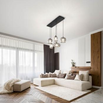 Fabas Luce Lampada a sospensione moderna a 5 luci in metallo e diffusori in vetro soffiato Gillis     3627-48