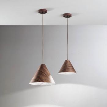 Fabas Luce Lampada a sospensione grande moderna con struttura in metallo e legno Esino     3630-45