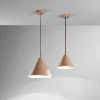 Fabas Luce Lampada a sospensione piccola moderna con struttura in metallo e legno Esino     3630-40