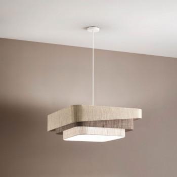 Fabas Luce Lampada a sospensione moderna con struttura in metallo e paralume in tessuto Camargue Beige    3641-40-353