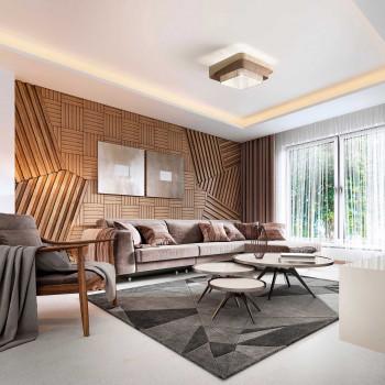 Fabas Luce Plafoniera da soffitto moderna con struttura in metallo e paralume in tessuto Camargue Beige    3641-65-353