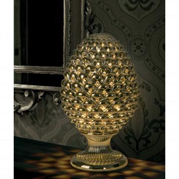 Bongelli Preziosi Lampada da tavolo moderna a forma di Pigna siciliana decorata a mano  Oro    ME1876/OR