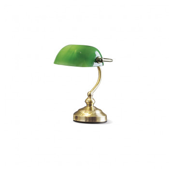 Perenz Lampada da tavolo piccola in ottone lucido paralume in vetro design classico  Verde