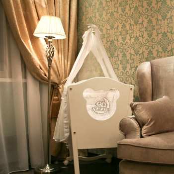 Maytoni Lampada da Terra in stile classico in metallo con paralume in tessuto Grace Ottone
