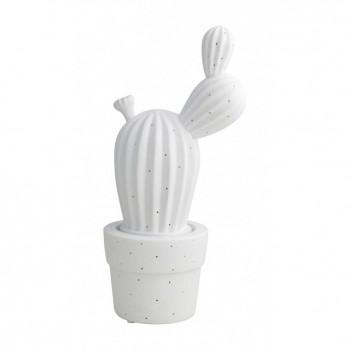 Brandani Lampada da tavolo dallo stile moderno con cactus in porcellana  Bianco    53385