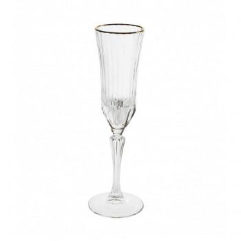 Brandani Set 6pz bicchieri flute in vetro Oh my Gold Trasparente    B53598