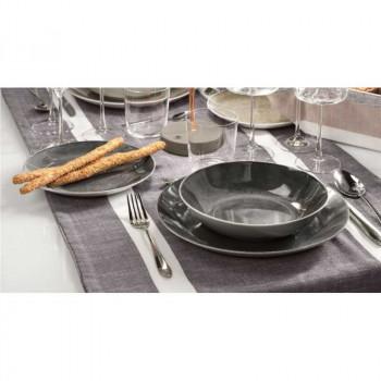 Brandani Servizio di piatti 18pz in porcellana Essential Grigio Fumè    B53879