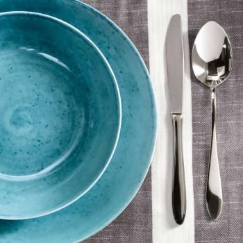 Brandani Servizio di piatti 18pz in porcellana Essential Azzurro    B53882
