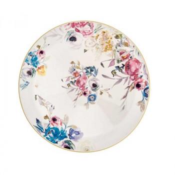 Brandani Centrotavola rotondo alto in ceramica dallo stile classico Paradise Multicolore    B53951