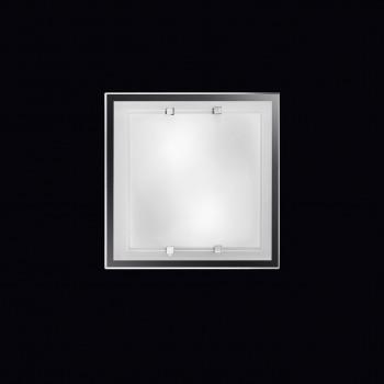 Perenz Plafoniera piccola quadrata in vetro bianco satinato di design moderno