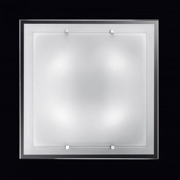 Perenz Plafoniera grande quadrata in vetro bianco satinato di design moderno