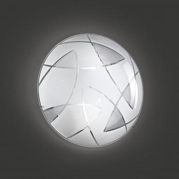 Perenz Plafoniera di designo moderno in metallo con paralume in vetro decorato grande