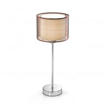 Perenz Lampada da comodino cromo lucido dal design moderno con paralume in tessuto  Cromato