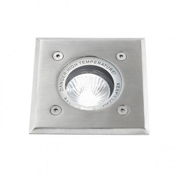 Perenz Faretto ad incasso per esterni con ghiera in acciaio quadrata cromo spazzolato Point Cromato    6222