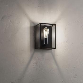Perenz Applique da parete in metallo verniciato e vetri laterali trasparenti Teca Nero    6280N
