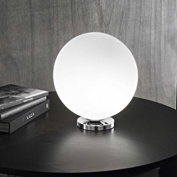Perenz Lampada da tavolo in cromo lucido con diffusore in vetro satinato  Bianco
