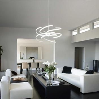 Perenz Sospensione a LED di design moderno per soggiorno in metallo regolabile piccola   Lumen 5600   6396