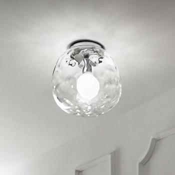 Perenz Plafoniera di design moderno in cromo lucido con vetro trasparente  Trasparente