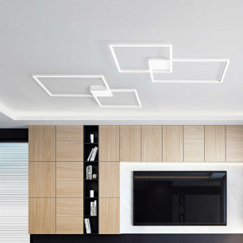 """Perenz Plafoniera a LED in alluminio verniciato composto da due riquadri grandi """"Cross""""   Lumen 4800 3000k Luce Calda"""
